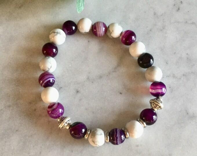 Bracelet white bracelet howlitee bracelet agate, green, stone bracelet pink bracelet, mala bracelet, purple meditation bracelet, mala