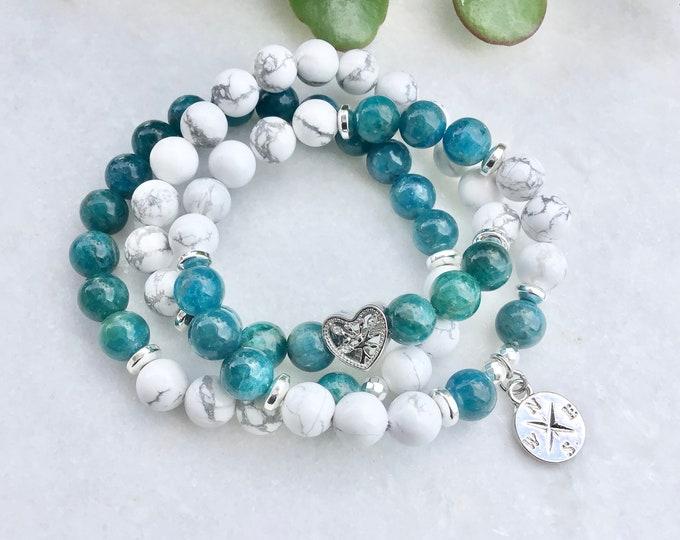 Kit Apatite howlite bracelet,  rainbow jewelry bracelet , jewelry boho chic kunzite bracelet benefits Mala