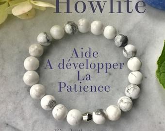 White bracelet, Howlite, women gift, fall 2018 jewelry pastels women bracelets stone, rose quartz, Howlite, wood, gifts for her.