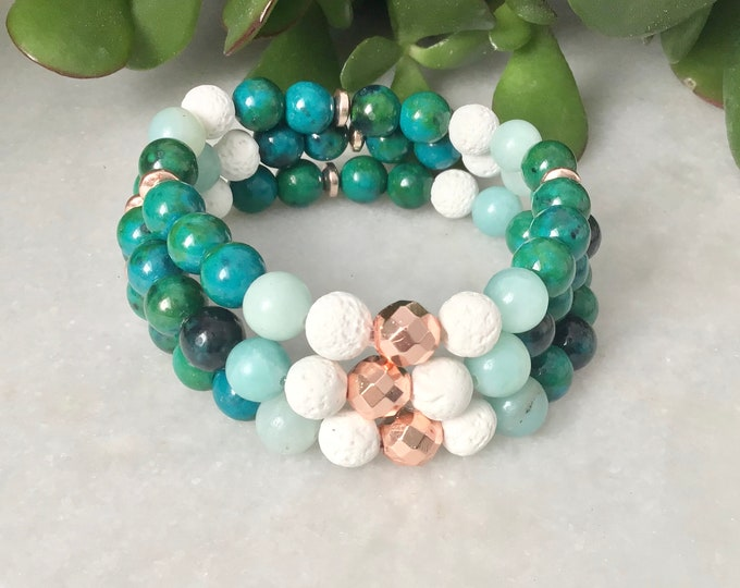 Hide French Chrysocolla azurite pierrre, bracelet benefits azurite chrysocolla, jewels benefits chrysocolle azurite, Mala benefits azurites
