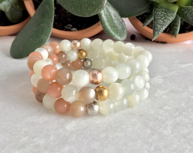 Moonstone, Moonstone Bracelet Moonstone Jewelry, Moonstone Bracelet, Feminine Stone, Mala Meditation