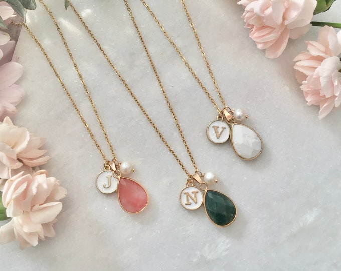 Personalized first name initial necklace, quartz stones, rose quartz, watermelon quartz, howlite, yellow agate,