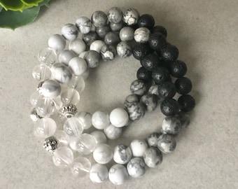 Howlite women's bracelet, women's gifts, autumn 2018, women's pastel jewelry, stone bracelets, rose quartz, Howlite, wood, women's gifts