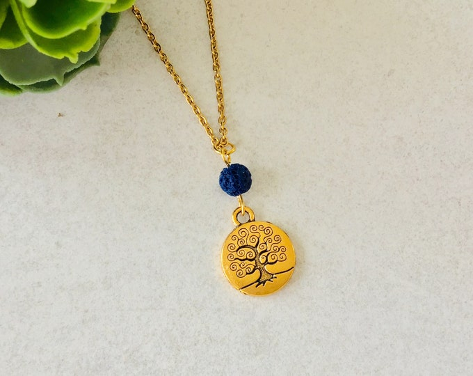 Chain pendant essential oil diffuser, volcanic stone chain for woman girl, tree of life, essential oil diffusers