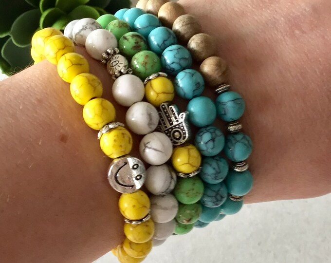 Set of 5 bracelets for woman, bracelet kit man yellow smile bracelet howlite eye jewelry hand of fatmas green  yellow turquoise