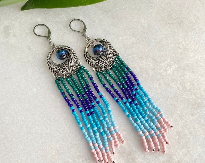 Bohemian  earring, beautiful earring fringe 20 color choice, woman christmas earring