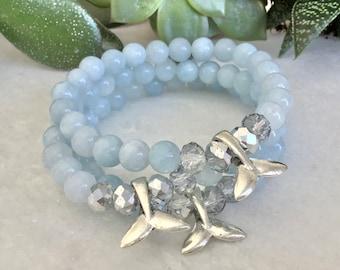 140 French Hide Aquamarine Maternity Bracelet, White Lava Stone, Pregnant Woman Bracelet, Gift for Woman Shower, Rose Quartz Bracelet