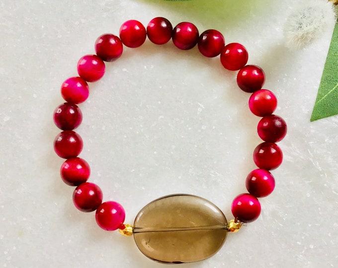 Bracelet œil de tigre magenta, bracelet quartz fumée, pierre lave, Quartz rose, grenat, corail fossile, red, Agathe, Howlite
