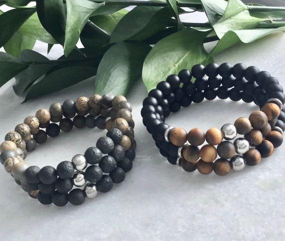 Boys bracelet grenat onyx in tourmaline black