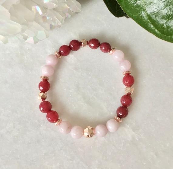 Bracelet lapis-lazuli calcédoine rouge et hématite rose gold
