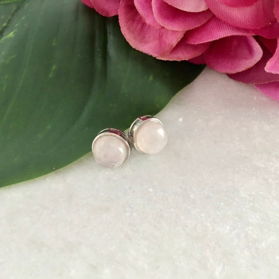Earrings quartz rose acier inoxydable