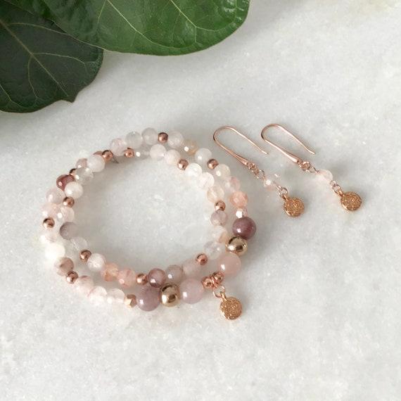 Crystal Clear Cracked Quartz Bracelet, Quartz Cracked Charm Silver Lotus Charm Bracelets with Hematite, Clear Quartz Woman Jewelry