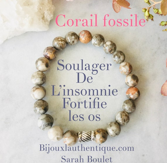French hide Bracelet for woman fossil coral, coral bracelet, fossil bracelet, corals, earth color, silver, gift, mala, yoga, meditation