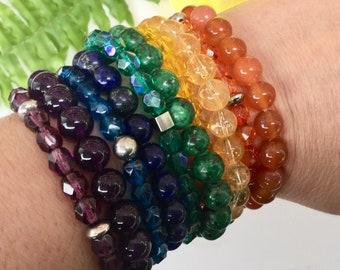 Bracelet améthyste, lapis-lazuli, blue, cornalines, citrine, orange, yellow, Green, zoizite, mauve