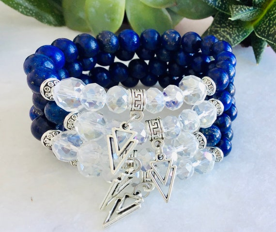 Silver lapis lazuli bracelet woman, triangular geometric charm gifts jewelry mala bohemian jewelry for woman, bracelet benefits