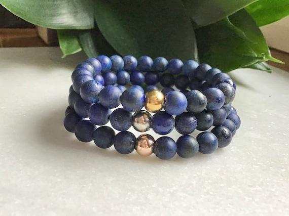 Bracelet lapis-lazuli acier inoxydable