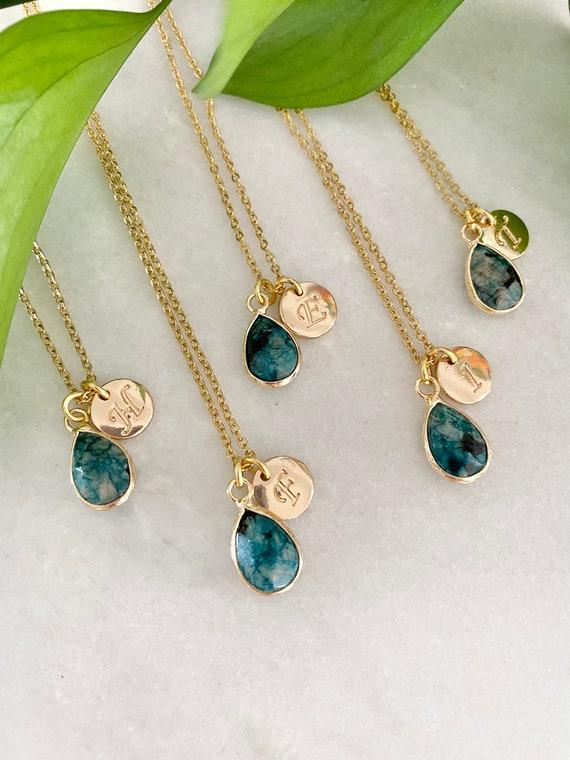 Personalized first name initial necklace, quartz stones, rose quartz, watermelon quartz, howlite, yellow agate,