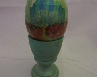 Road to Emerald City Painted wooden egg in cup