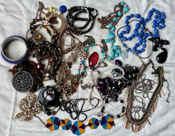 Mix Lot Costume Jewelry 4 Lbs Jewelry for Repair or Crafting