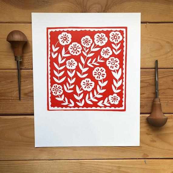 Wild Flower Linocut Print