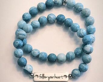 Follow your heart Stainless Steel Bar Bracelet