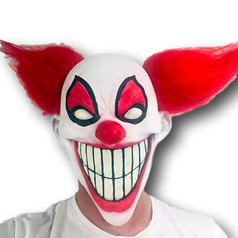 57aec9416 Scary Clown Mask Glow in the Dark Halloween Big Teeth Red Hair | Etsy