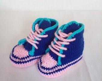 Baby crochet sneakers, 0-3 months old shows, handmade booties