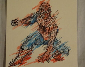 SPIDERMAN WATERCOLOR with pen & ink