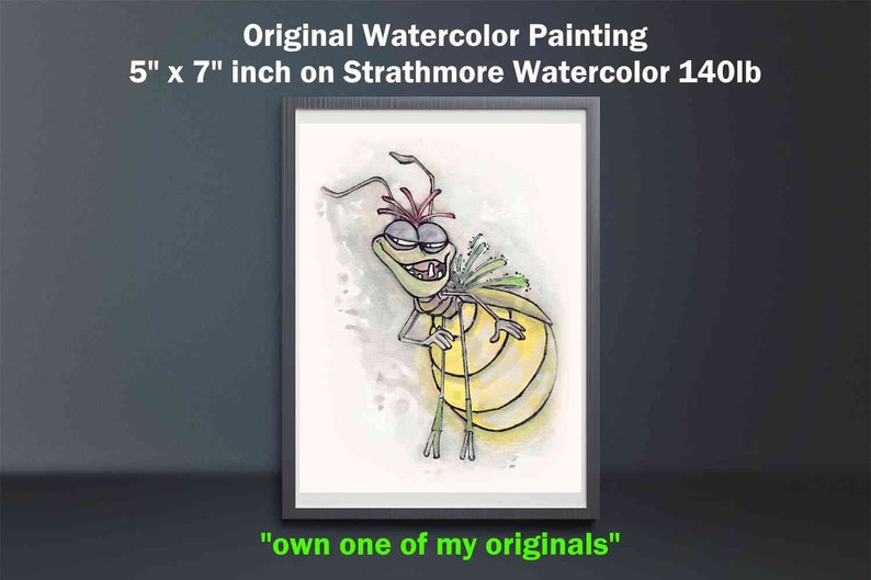 RAY the FIREFLY Original Watercolor Painting  Disney Watercolor  Princess and the Frog  Disney Decor