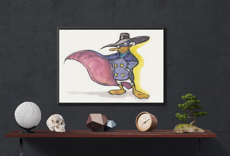 Multiple Sizes Iconic DARKWING DUCK Fine Art Quality Print Classic Disney Ducktales Afternoon Cartoon