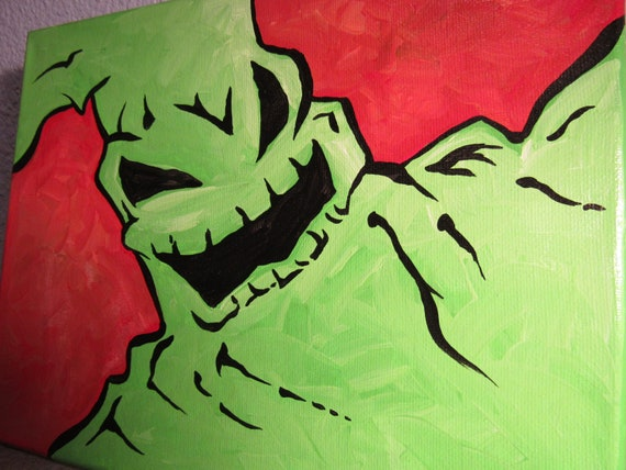 Christmas Paintings For Kids On Canvas.Oogie Boogie Acrylic Canvas Painting Original Art By Phil Born Kids Room Very Cute Nightmare Before Christmas Tim Burton