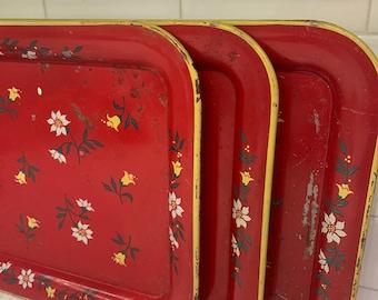 Set of 3 metal vintage tv lap trays