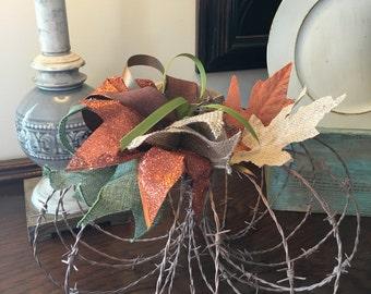 Rustic Barbed Wire Pumpkin