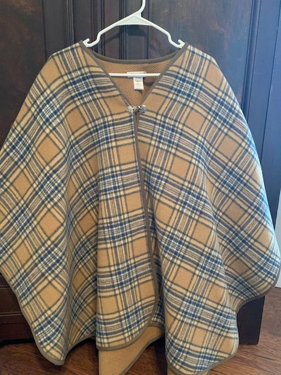 Merino wool Pendleton poncho, plaid wood poncho, v