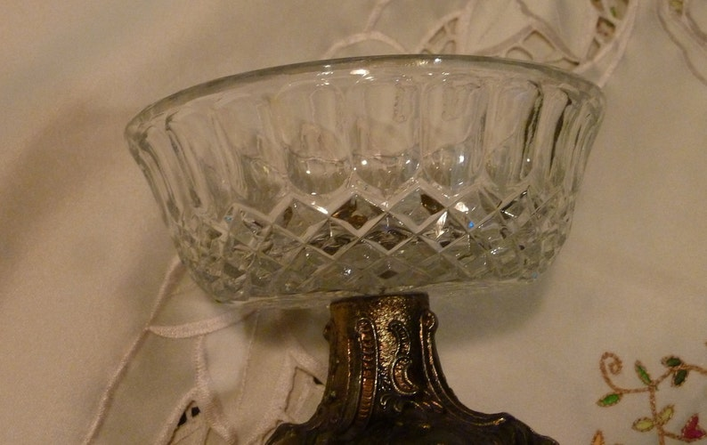 Trinket Dish Footed Antique Brass Tone Metal Glass Dish Vintage Jewelry  Dish Ornate Metal Pedestal Base