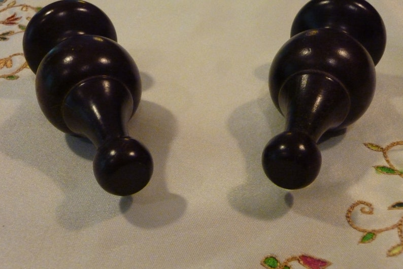 2 Spindles Vintage Wood Finials Victorian Era Style Reno Project Brown Furniture Accents