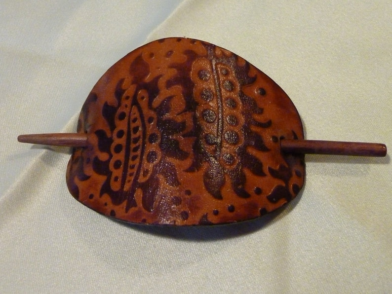 Hair Barrette Pony Tail Accessary Vintage Leather Hair Barrette With Stick Brown Tooled Leather Bun Holder Wooden Stick