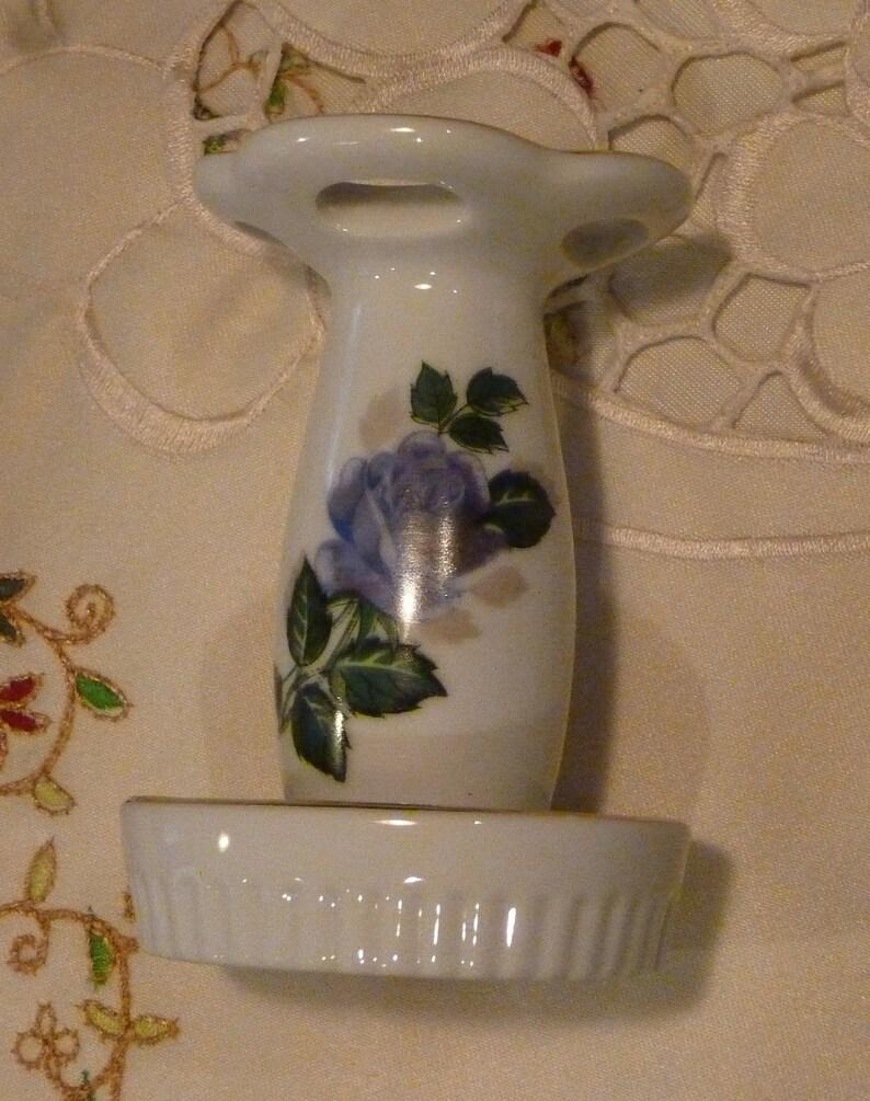 Porcelain Bathroom Decor Vintage Toothbrush Holder Blue Rose Floral Decorated 4 Brush Holder