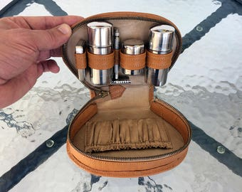 Vintage shaving kit 1960's Shaving set Genuine leather case Travel kit Man's accessory Compact shaving set Portable shaving kit Gift for him