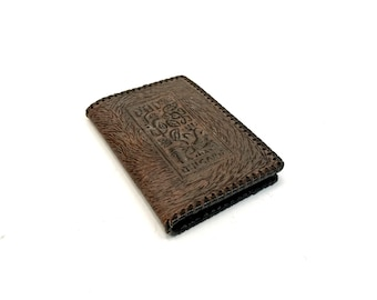 Vintage notebook Genuine leather covered Embossed book case Leather folder Small leather portfolio Library decor Office decor Gift
