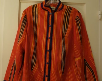 Vera signature print tunic/blouse, 1960s Sz 12