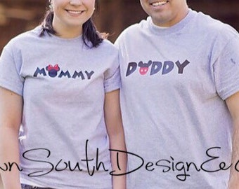 Mommy and Daddy mickey mouse t-shirt