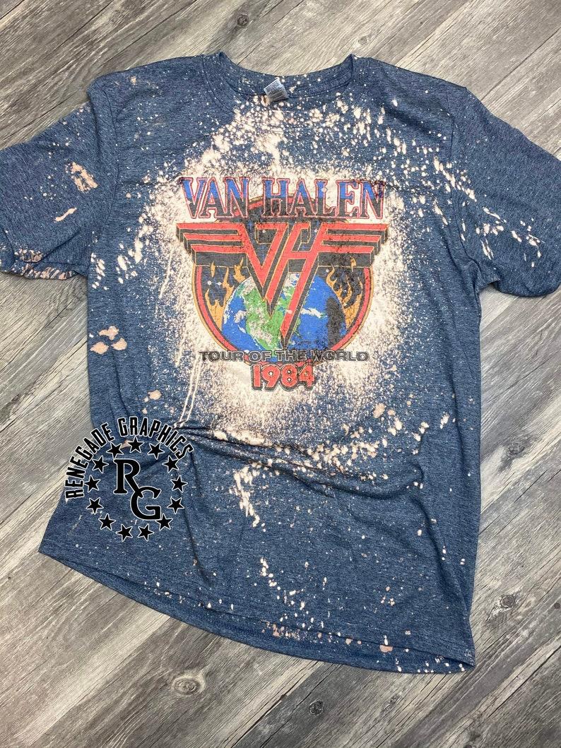Men's Van Halen Tour Of The World 1984 Cool Bleach Splash T-shirt, S to 2XL