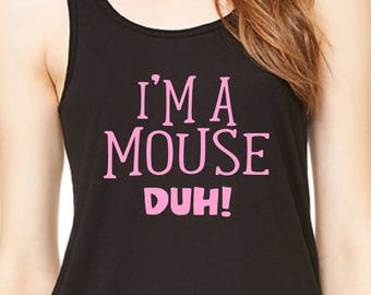 Mean Girls Costume, Funny Halloween Costume, I'm A Mouse Duh Racer back Tank Top, Karen Smith, Halloween Shirt