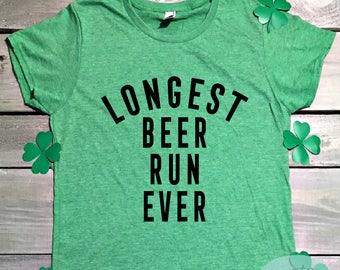8a7ca7395 Longest Beer Run Ever, Marathon Shirt, Funny St Patricks Day Marathon Shirt,  Shamrock Shirt, Lucky Shirt, Runner Shirt, Jogging Shirt