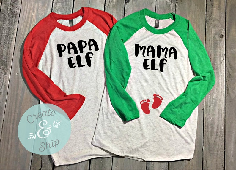 e876b6c6795b9 Mama Elf Papa Elf Couple Pregnancy Announcement Shirt Set | Etsy