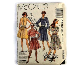 1990s Vintage Sewing Pattern - McCalls 5936 - Shirt Dress UNCUT