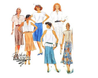 1980s Vintage Sewing Pattern - McCalls 2957 - Pleated Button Up Flared Skirt UNCUT
