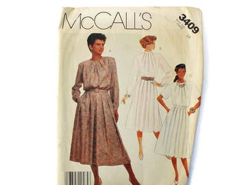 1980s Vintage Sewing Pattern - McCalls 3409 - Secretary Dress