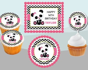 24 ND2 Party Panda Bears cute icing fairy cake toppers decorations edible
